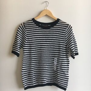 NWT Zara Black White Striped Crochet Top